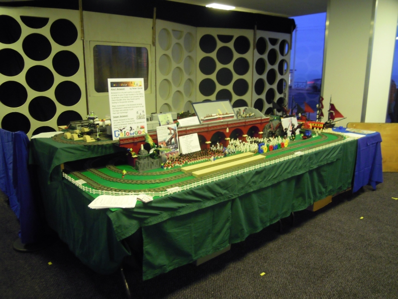 Front view of layout. showing Tardis scenary used for the back of the Dalek stand behind us