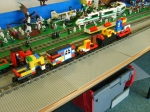 The collection of wagons built by the children.