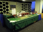Front view of layout. showing Tardis scenary used for the back of the Dalek stand behind us.