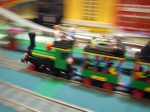 Legoland train going around the layout.